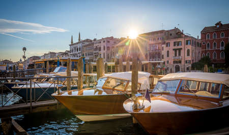 motorboats: Venice architecture nad motorboats at sunrise, Italy