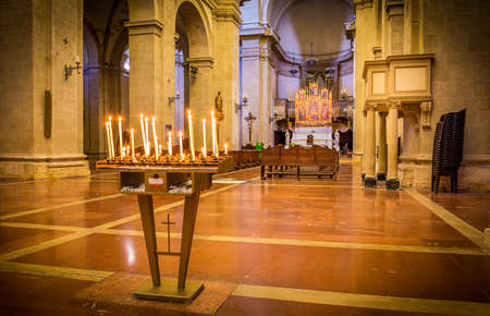 settles: Interior of cathedral at Piazza Grande in Montepulciano, Tuscany