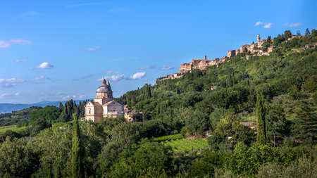 montepulciano: San Biagio church and Montepulciano town in Tuscany