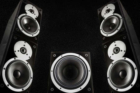 subwoofer: Pair of loudspeakers and subwoofer on abstract space background