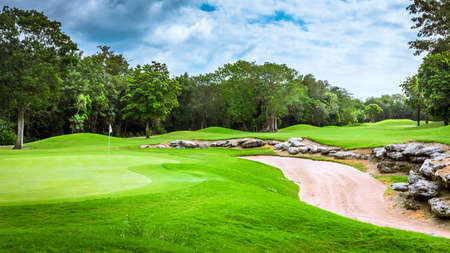 play golf: Beautiful golf course on mayan riviera in Mexico