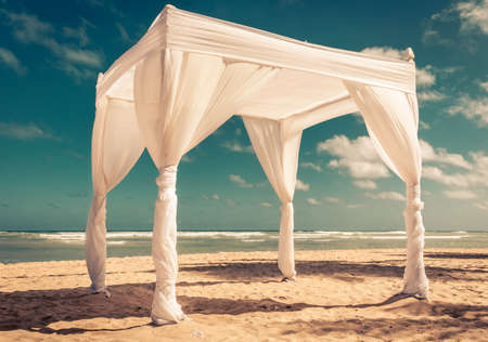republic dominican: Wedding altar on caribbean beach in Dominican Republic