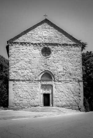 bw: BW San Domenico church in Cortona city, Italy Stock Photo
