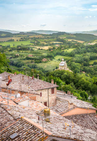 val d'orcia: Scenery of Val DOrcia valley in Tuscany. A wiev from Montepulciano town.