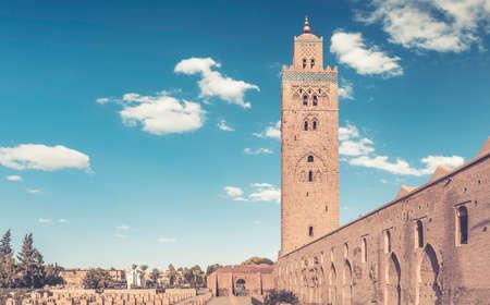 marrakesh: Koutoubia Mosque Minaret in Marrakesh city, Morocco . Stock Photo