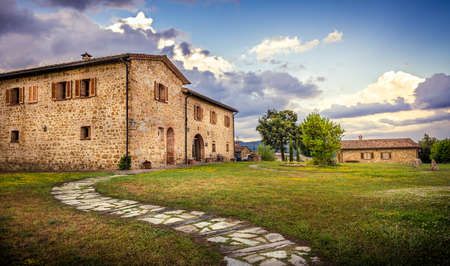 renovated: PIENZA, ITALY - JUNE 20, 2015: renovated stone tuscan manor near historic Pienza town in Italy