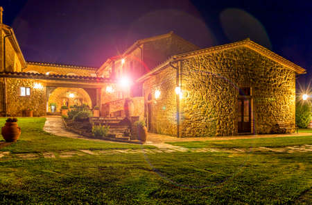star path: PIENZA, ITALY - JUNE 26, 2015: beautiful renovated tuscan manor at night near historic Pienza town in Italy Editorial