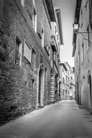 montepulciano: BW scene of captivating Montepulciano town in Tuscany, Italy