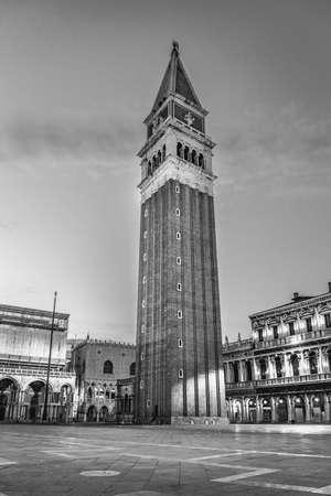 marco: BW scene at San Marco square in Venice, Italy