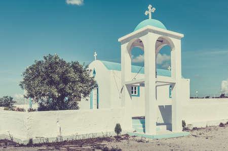 Blue and white orthodox chapel on greek Kos island