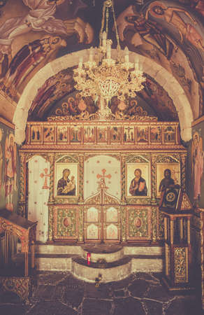 christian candle: Greek orthodox chapel interior on Kos island