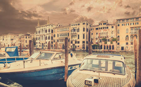 motorboats: Venetian architecture nad motorboats at Grand Canal, Italy