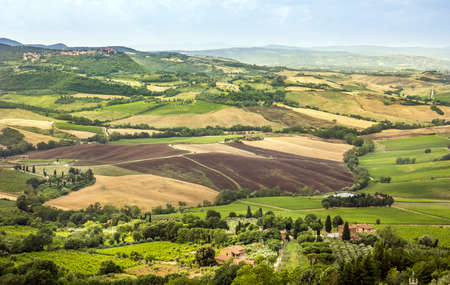 val d'orcia: Panorama of Val DOrcia valley in Tuscany. A wiev from Montepulciano town.