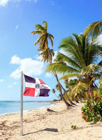 Saona 섬의 카리브 해변과 도미니카 공화국 국기