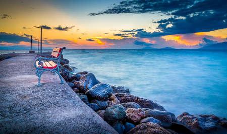 kos: Amazing sunrise over Aegean Sea, Kos island, Greece Stock Photo