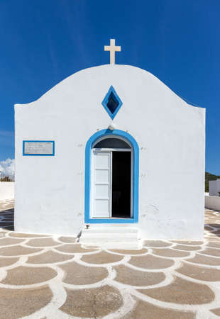 kos: Blue and white orthodox chapel on greek Kos island