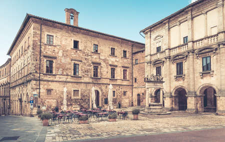 montepulciano: Scenery of Piazza Grande in old Montepulciano city, Italy Stock Photo