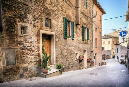 Captivating street of old Montepulciano village in Tuscany Stock Photo