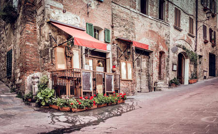 montepulciano: Small trattoria in tuscan Montepulciano town, Italy