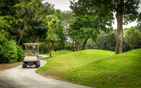 mayan riviera: Beautiful golf course and golfcart on mayan riviera in Mexico