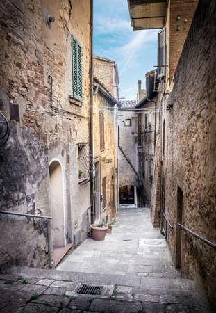 city scene: Captivating street of old Montepulciano village in Tuscany Stock Photo