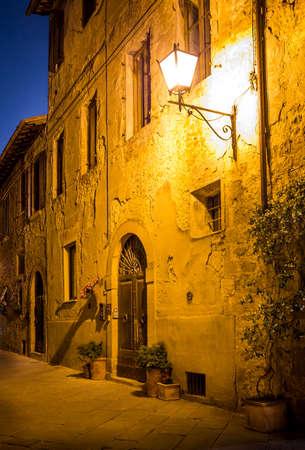 pienza: Beautiful street of tuscan Pienza town by night