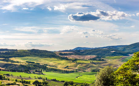 val dorcia: Panorama of Val DOrcia valley in Tuscany. A wiev from Montepulciano town.