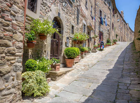 Beautiful street of captivating Cortona town in Tuscany, Italy