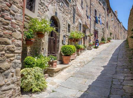 Beautiful street of captivating Cortona town in Tuscany, Italy