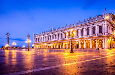 Early morning at San Marco square in Venice, Italy Editorial