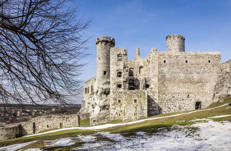 Outside view of Ogrodzieniec medieval castle in Poland Editorial
