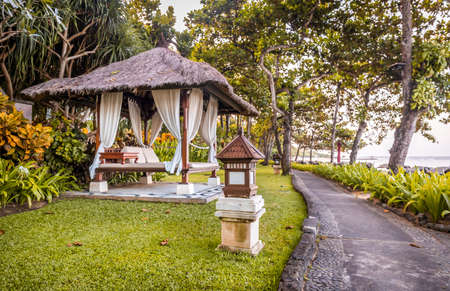 Balinese relaxation hut at Nusa Dua shore, Indonesia