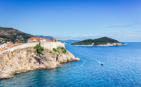 Aerial view of amazing Dubrovnik old town in Croatia