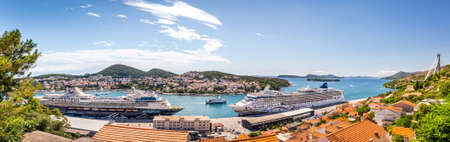 DUBROVNIK, CROATIA - JULY 17, 2018: Passenger ferry moored in Dubrovnik seaport, Croatia