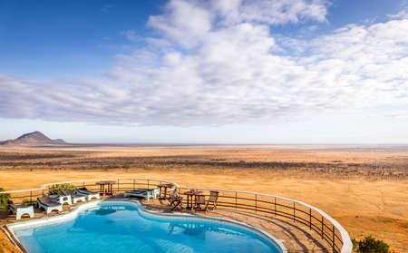 Aerial view on savannah plains in Tsavo park, Kenya