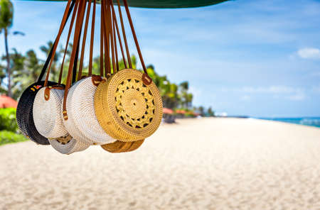 Traditional souvenirs on balinese beach in Indonesia Stock Photo