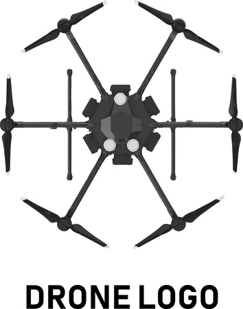 drone hexacopter logo vector