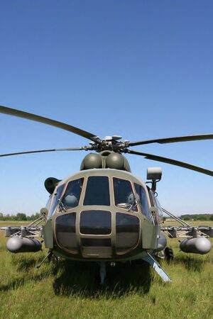 Close-up front view of army transportation helicopter photo