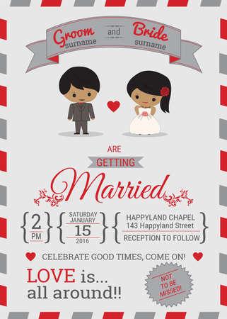 свадьба: Воздушная почта стиль typhography свадебные приглашения Иллюстрация