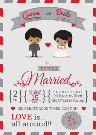 Air-mail style typhography wedding invitation