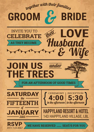 Holz Vintage-Stil typhography Hochzeitseinladung