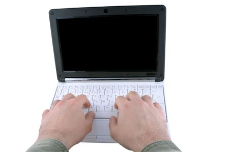 Hands Using Laptop Computer