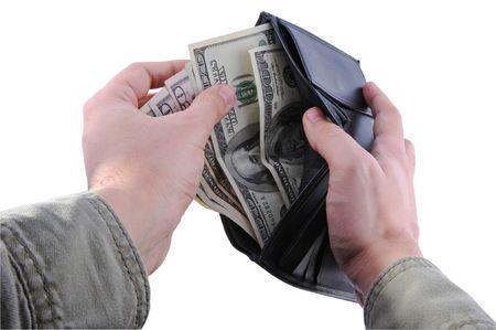 Hände, die Einnahme von Geld aus eine Brieftasche Standard-Bild - 6606572