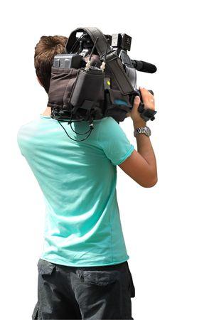 Camarógrafo aislado en fondo blanco  Foto de archivo