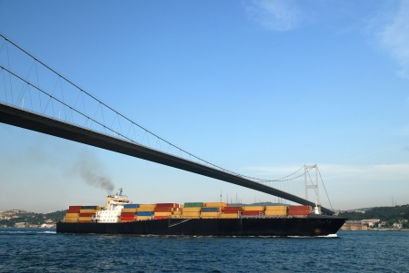 Cargo Ship Passing Through Bosphorus - Istanbul, Turkey
