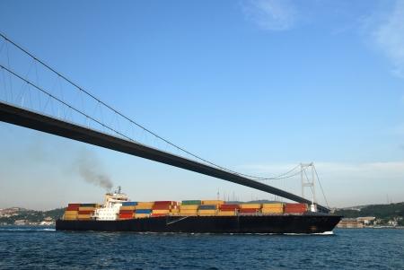 Cargo Ship Passing Through Bosphorus - Istanbul, Turkey