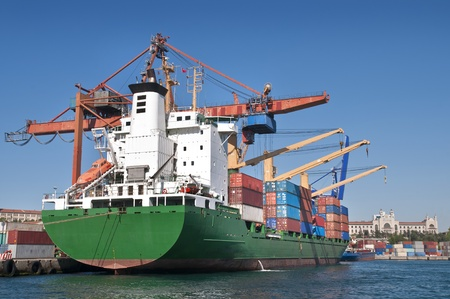 Cargo Ship Loading Containers In Istanbul Dock photo