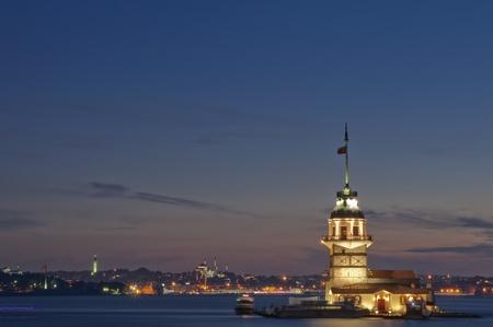 The Maidens Tower (Kiz Kulesi) In Istanbul, Turkey Banco de Imagens