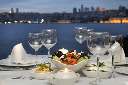 istanbul night: Dinner At The Bosphorus, Istanbul - Turkey (Night Shot) Stock Photo