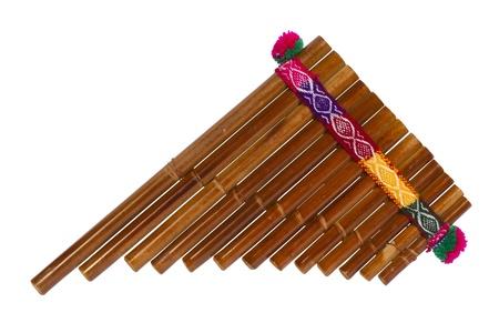 flauta: Flauta de Pan Aislado en el fondo blanco Foto de archivo